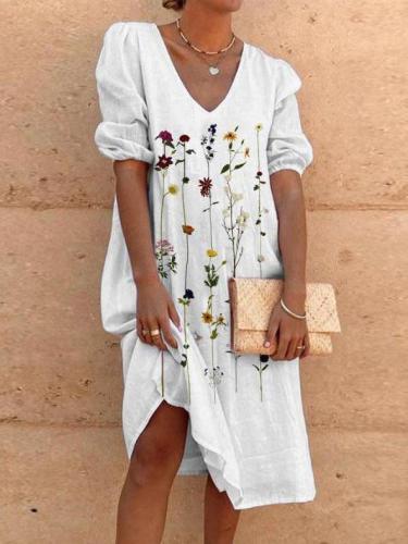 White Vintage Floral V Neck Dresses