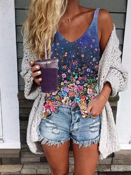 Sweetheart Casual Cotton-Blend Floral Shirts & Tops