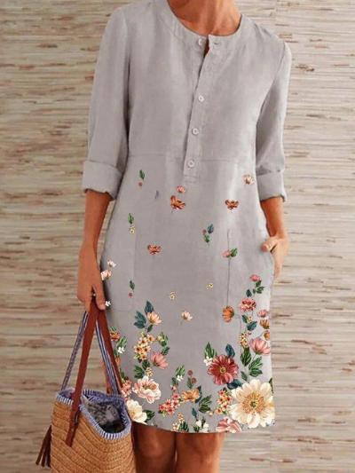 Gray Printed Floral Long Sleeve Midi Dresses