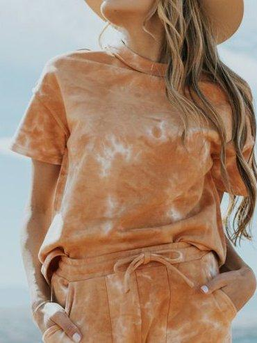 Orange Shift Short Sleeve Crew Neck Suits