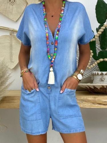 Blue Short Sleeve Cotton-Blend Shift Plain One-Pieces