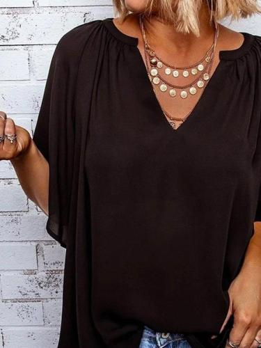 Casual Solid V Neck Short Sleeve Tops