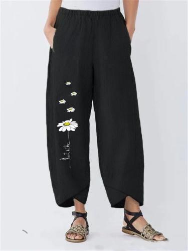 Floral-Print Pockets Casual Pants
