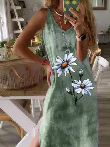 Daisy Ombre/Tie-Dye Short Sleeve V Neck Casual Dresses