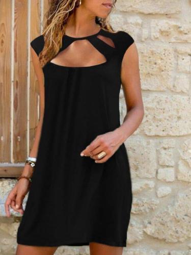 Black Cutout Shift Casual Dresses