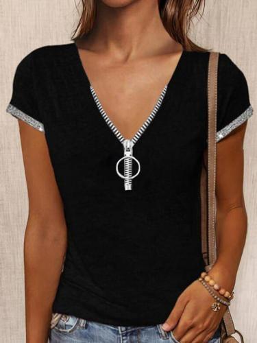 Black V Neck Zipper Casual Solid Shirts & Tops