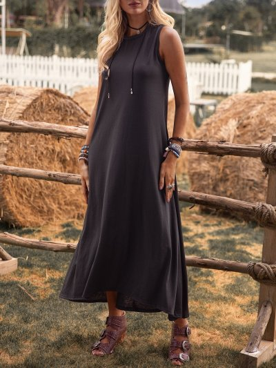 Crew Neck Solid Sleeveless Cotton-Blend Dresses