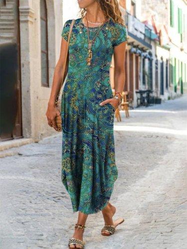 Vintage Cotton-Blend Short Sleeve Dresses