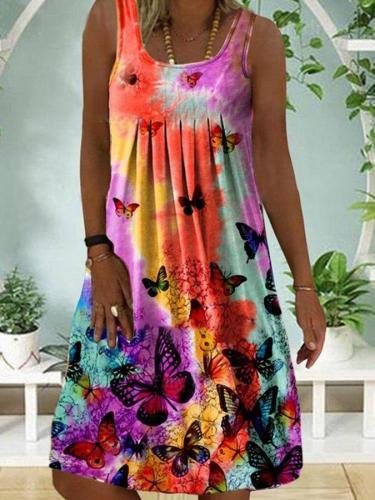 Multicolor Short Sleeve Casual A-Line Dresses