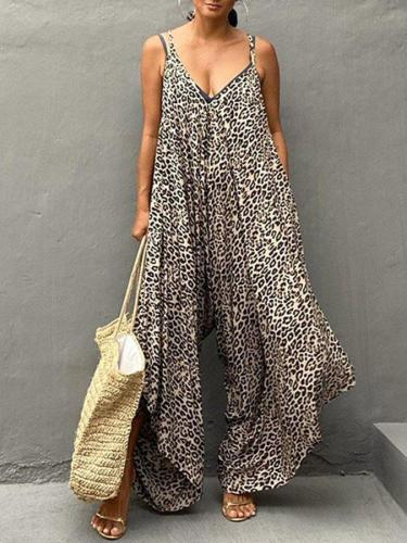 Casual Sleeveless Leopard Print One-Pieces