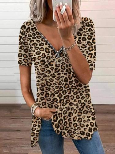 Short Sleeve Printed V Neck Polyester Cotton Shirts