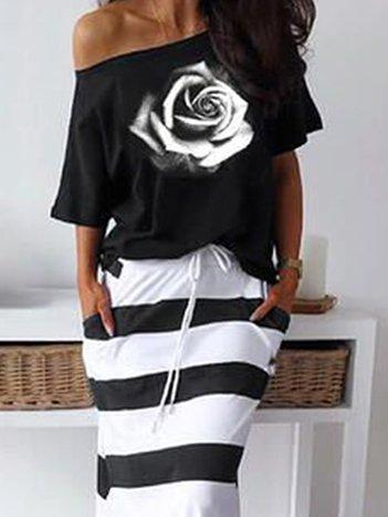 Black Floral Short Sleeve Casual Suits