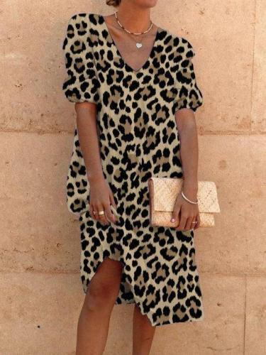 Casual Holiday Leopard Print Short Sleeve V Neck Dresses