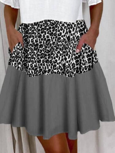 Short Sleeve V Neck Cotton-Blend Dresses