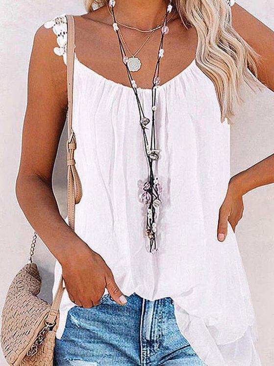 White Solid Shift Sleeveless Shirts & Tops