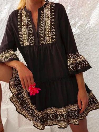 Black Cotton-Blend A-Line 3/4 Sleeve Dresses