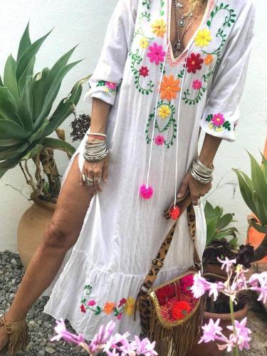 Casual loose floral print long-sleeved cotton and linen dress