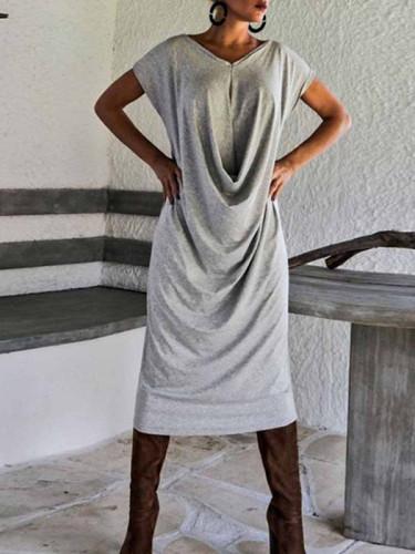 Solid Color Open Back V-Neck Short Sleeve Midi Dress