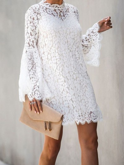Sexy elegant women white two pieces hollow out shift dresses