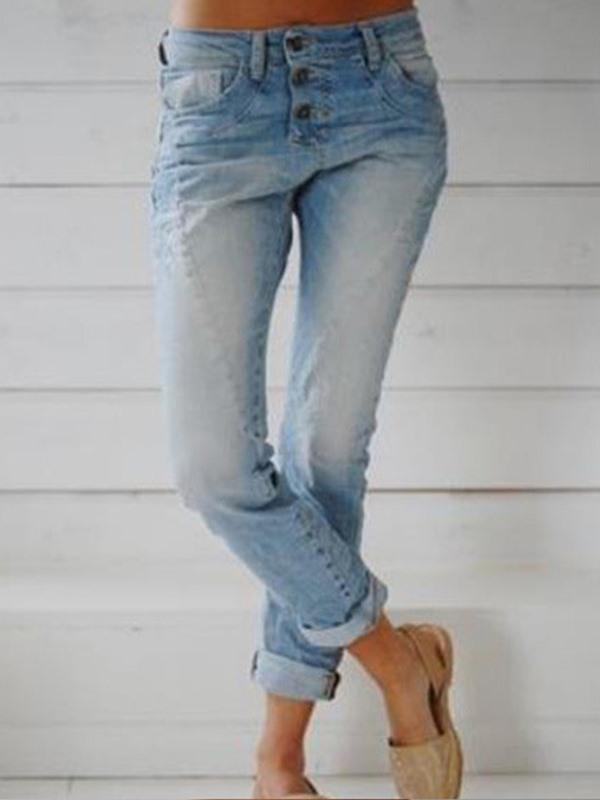 Women long pants button plain blue jeans