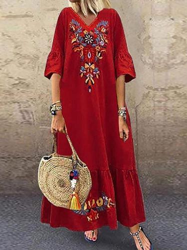 Comfy women printed short sleeve maxi dresses