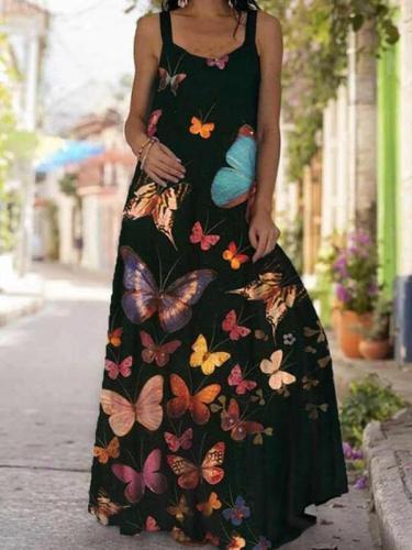 Women butterfly printed long dress maxi dresses