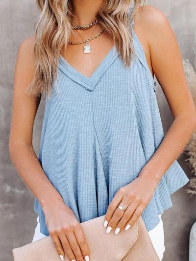 Plain v neck sleeveless vests for Summer