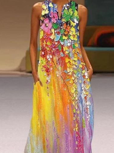 V neck sleeveless dress women printed maxi dresses