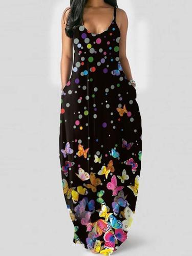 Sexy v neck printed sleeveless women maxi dresses