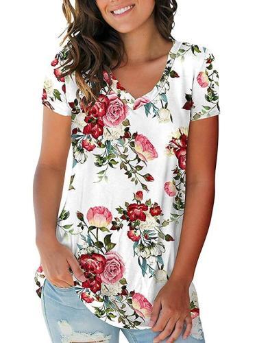 Hot sale women v neck printed loose T-shirts