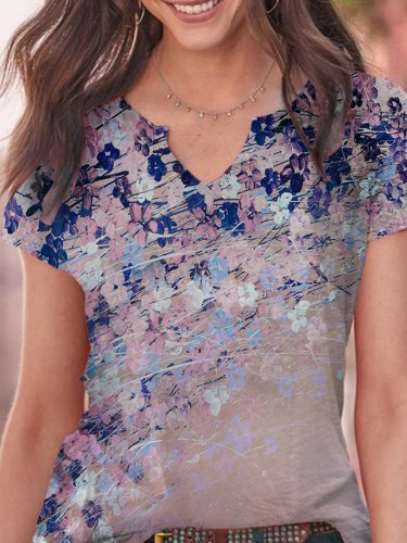 Floral-Print Short Sleeve Statement Shirts & Tops