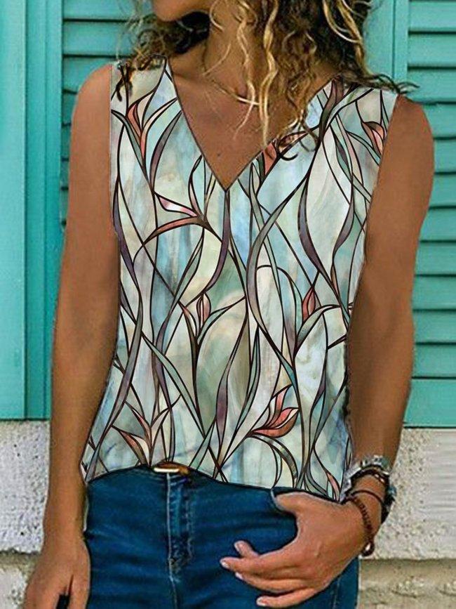 Floral  Sleeveless  Printed  Cotton-blend  V neck   Vintage  Summer Green Top