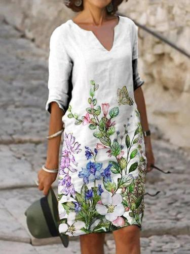 White Half Sleeve Casual Floral Dresses
