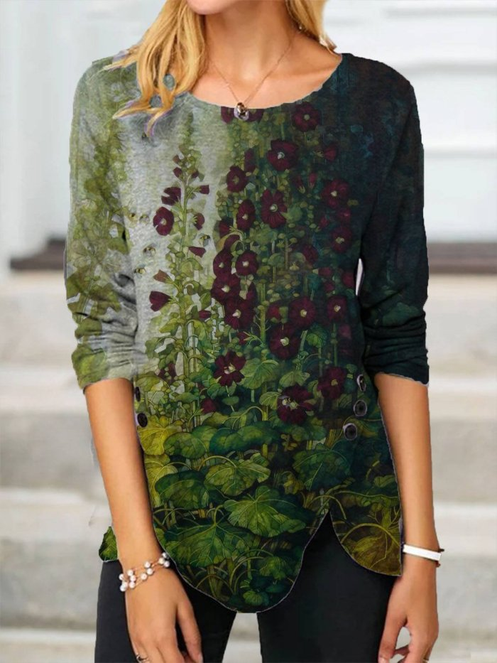 Crew Neck Floral-Print Long Sleeve Floral Shirts & Tops