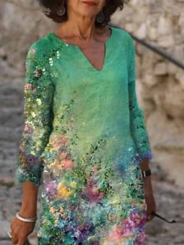 Cotton-Blend 3/4 Sleeve V Neck Shift Dresses