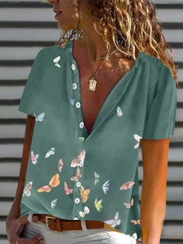 Short Sleeve Casual Butterfly Shirts