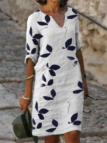 White Cotton-Blend Cocoon V Neck Half Sleeve Dresses