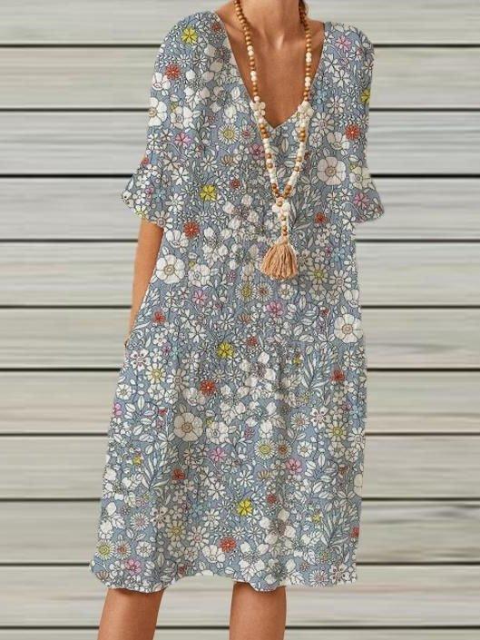 Gray Half Sleeve Floral Dresses