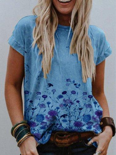 Khaki Simple Round Neck Printed Cotton-Blend Shirts & Tops