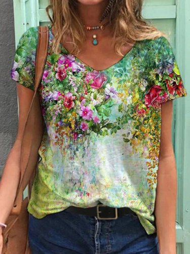 Colorful Flower Painting Short Sleeve Shirts & Tops