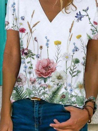 Floral  Short Sleeve  Printed  Cotton-blend V neck  Vintage  Summer White T-Shirt