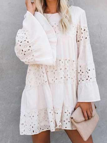 Lace hollow round neck flared sleeve long sleeve dress
