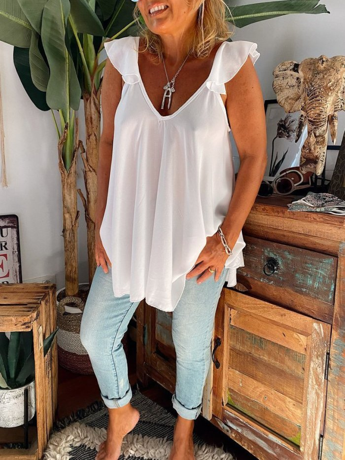 White V Neck Solid Shift Casual Shirts & Tops