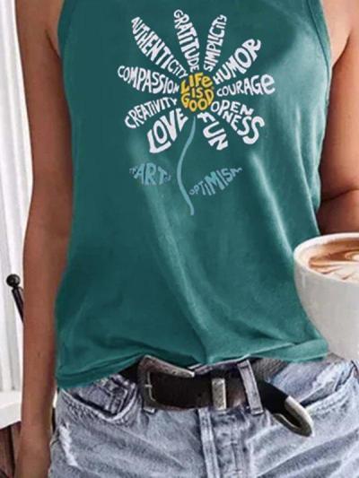 Green Floral Shift Casual Sleeveless Shirts & Tops