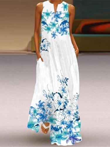 Women's Casual Print Dress Sleeveless Maxi Dresses