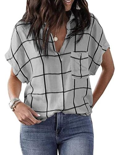 Casual grid pocket short sleeve turn down neck Blouses