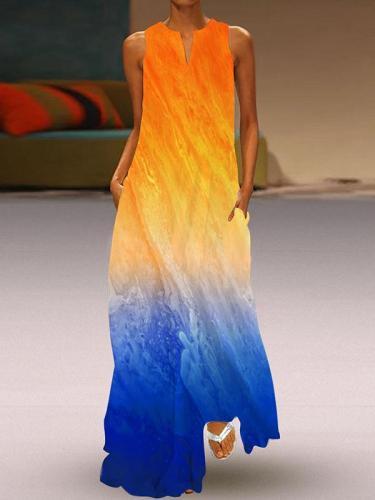 V neck colorful long women printed maxi dresses