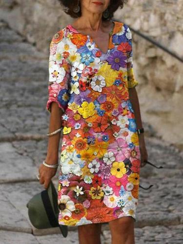 v neck floral printed women beautiful flower shift dresses