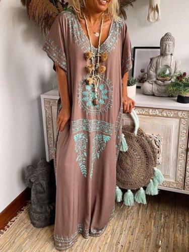 Short Sleeve Printed V Neck Holiday Dresses