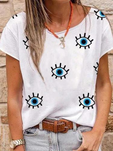 Women eye printed short sleeve T-shirts